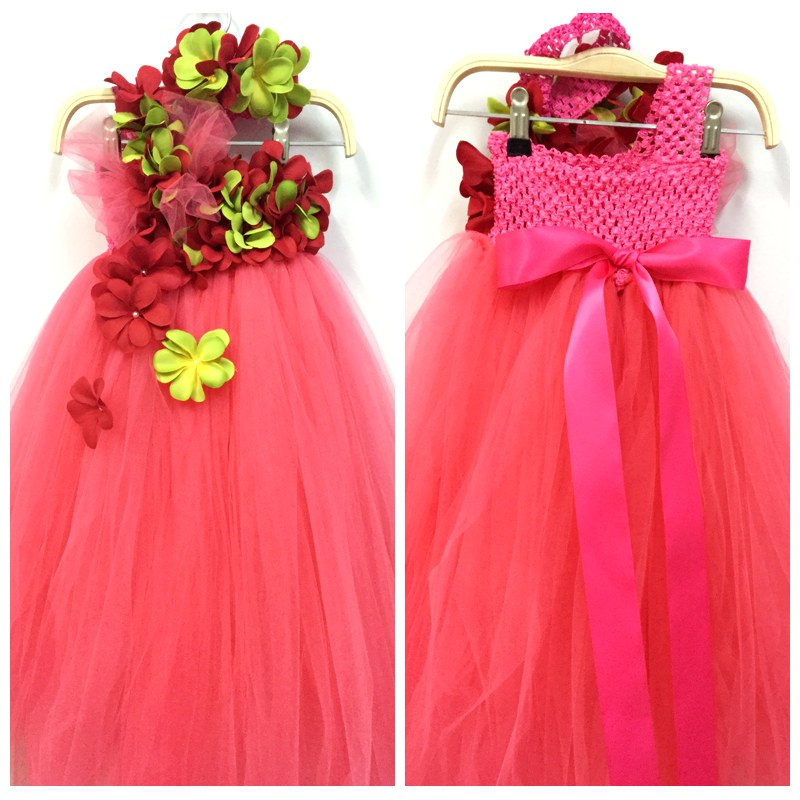Princess Girls Flower Tutu Dress For 2-10Y Wedding Birthday Party Girls Flowers Party Fluffy Tulle Dresses For Photo props <br>