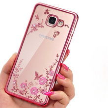 Floral ultra Rhinestones phone cases soft TPU silicone Back Cover For Samsung Galaxy S 3 4 5 6 7 Note 3 4 5 J serials Phone case(China)
