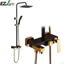 EZLIFE luxury New Black Bath Taps shower faucet gold and black bath faucets column shower panel rainfall shower set QSI2778(China)