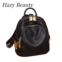 Hazy beauty New punk design women pu leather backpack super chic lady shoulder bag rock stud girls simple black backpacks DH495