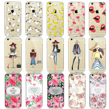 Cute Lovely Woman Girls Transparent Rubber TPU Cellphone Case For iphone 5 5s Silica Cover Cartoon Unicorn Dress Flowers Shells