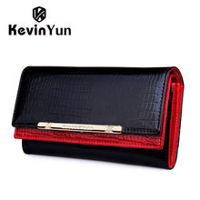 KEVIN YUN Luxury Women Wallets Patent Leather High Quality Designer Brand Wallet Lady Fashion Clutch Casual Women Purses Party(China)