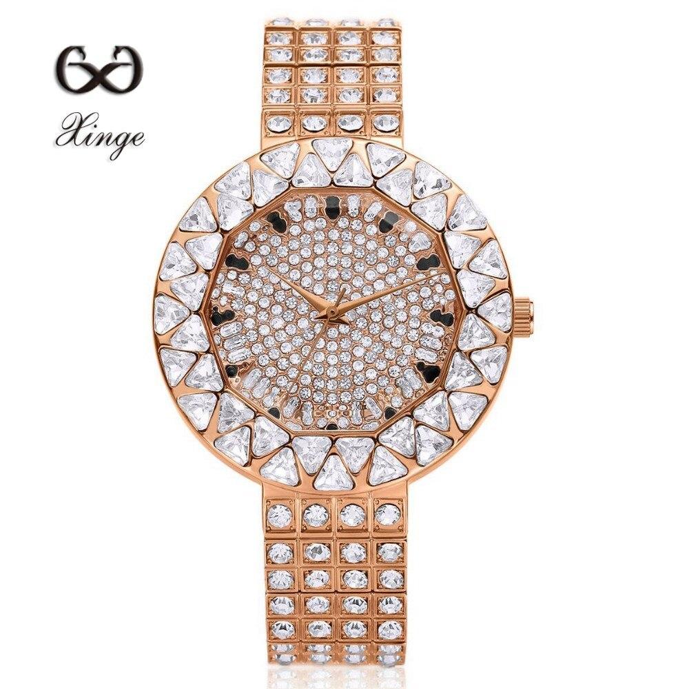 Xinge Brand Luxury Zircon Copper Bracelet Diamond 30M Waterproof Wristwatch Women Dress Rhinestone Quartz Ladies Female Watches<br>