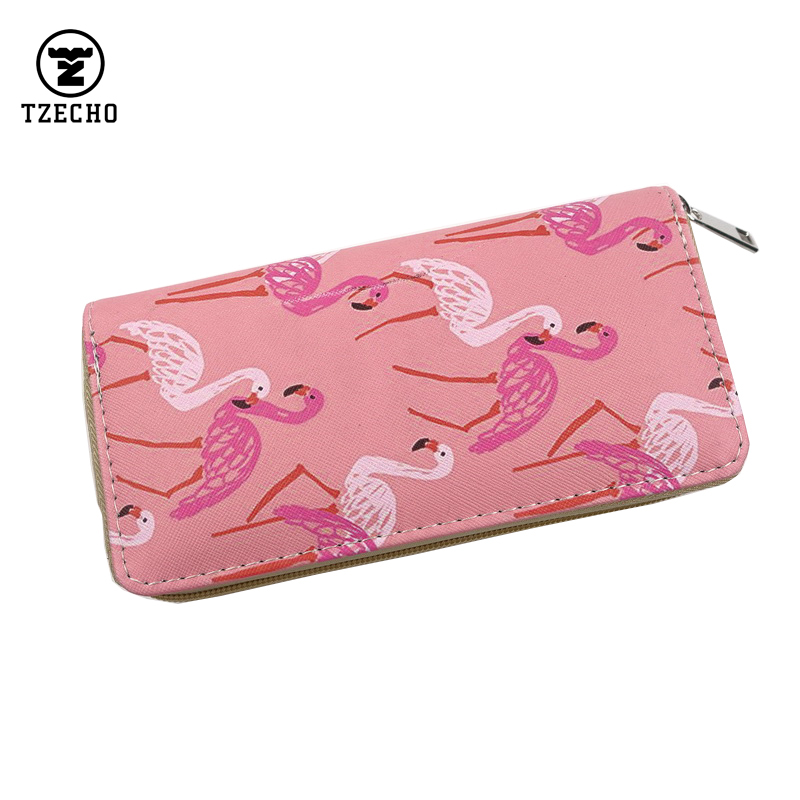 2016 Hot Womens Organizer Wallets Leather Print Flamingo Long Ladies Money Purses Zipper Coin Pocket Card Holder Clutch Bag<br><br>Aliexpress