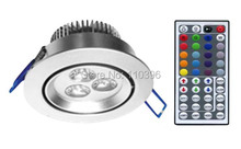 bridgelux led chip 3w rgb 44 key ir remote control light spot led recessed ceiling lights indoor lighting lamp 4pcs/lot