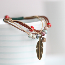 Fashion Ethnic Style High Quality Original Ceramic Bronze Adjustable Handmade Porcelain Beads Rope Bracelets For Women 00833