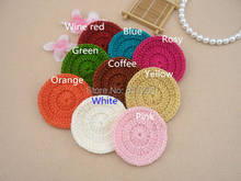 2015 new arrival 12 pic/lot cotton crochet lace doilies button coaster cup holder felt for home decor placemat fabric napkin mat