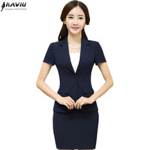 2016 hot sale summer office women skirt suits business uniform short sleeve female blazer and skirt plus size work wear set