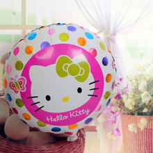 1pcs/lot 18 inch Round Pink hello kitty Foil Balloons Color wave point helium Balloon Girl Birthday cute KT cat Party Decor(China)