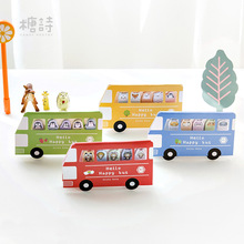 12 sets/1 lot Creative Animal bus Memo Pad Sticky Notes  Escolar Papelaria School Supply Bookmark Post it Label
