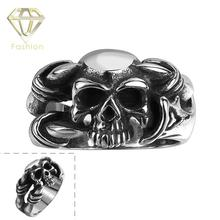 2017 Punk Style Personalized Dragon Claw Skull Biker Ring Jewelry 316L Stainless Steel Skeleton Head Finger Rings Wholesale