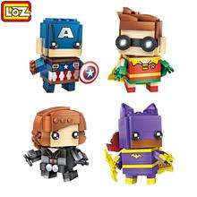 Four LOZ Diamond Building Blocks Action Figures Superhero Series Building Bricks Assembly Toys For Children Black Widow Bat(China)