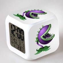 PVZ Toy Alarm Clock Plants VS Zombies Cartoon Games Action Figure LED Touch Light Temperature Classic Toys for boys