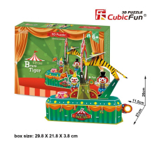 Cubicfun DIY 3D Paper Puzzle Toy Handmade Circus Brave Tiger Paperboard Model Educational Papercraft Puzzles Kids Toys Juguetes(China)