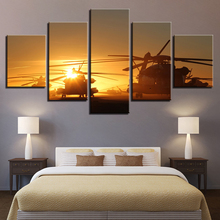 Canvas HD Prints Paintings Wall Art Pictures 5 Pieces Helicopters Sunset Sky Landscape Posters Living Room Home Decor Framework(China)