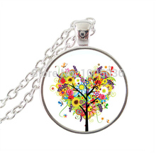 Wisdom tree jewelry heart flower necklace glass dome animal pendant women jewelry love tree of life silver chain long necklace