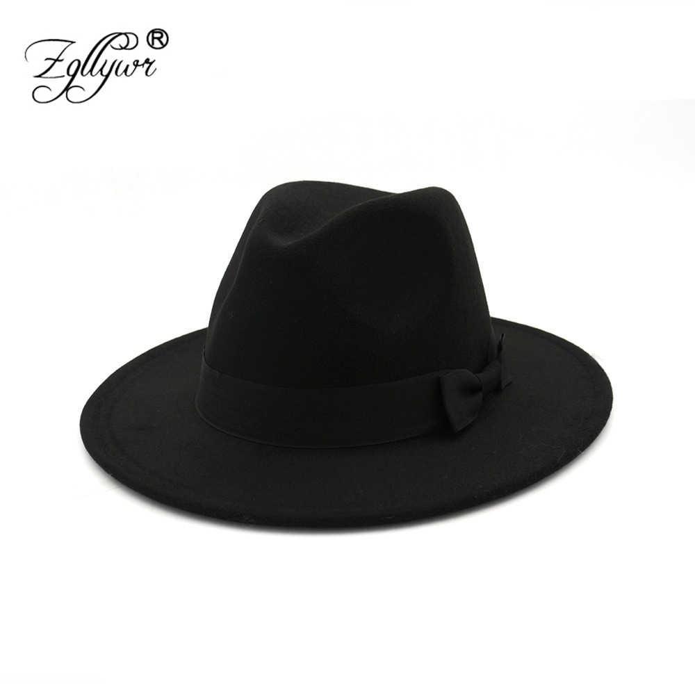 Zgllywr Fedora Hat for Women Men Autumn Winter Wide Brim Brown Jazz Hat  Flat Brim Felt d6f4c60552b2