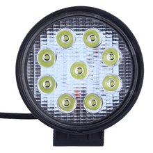 LED Vehicle LED Working Light 27W Thick Type Auto Round Shape 6063 Aluminum Profile Stainless Steel Bracket External Lights