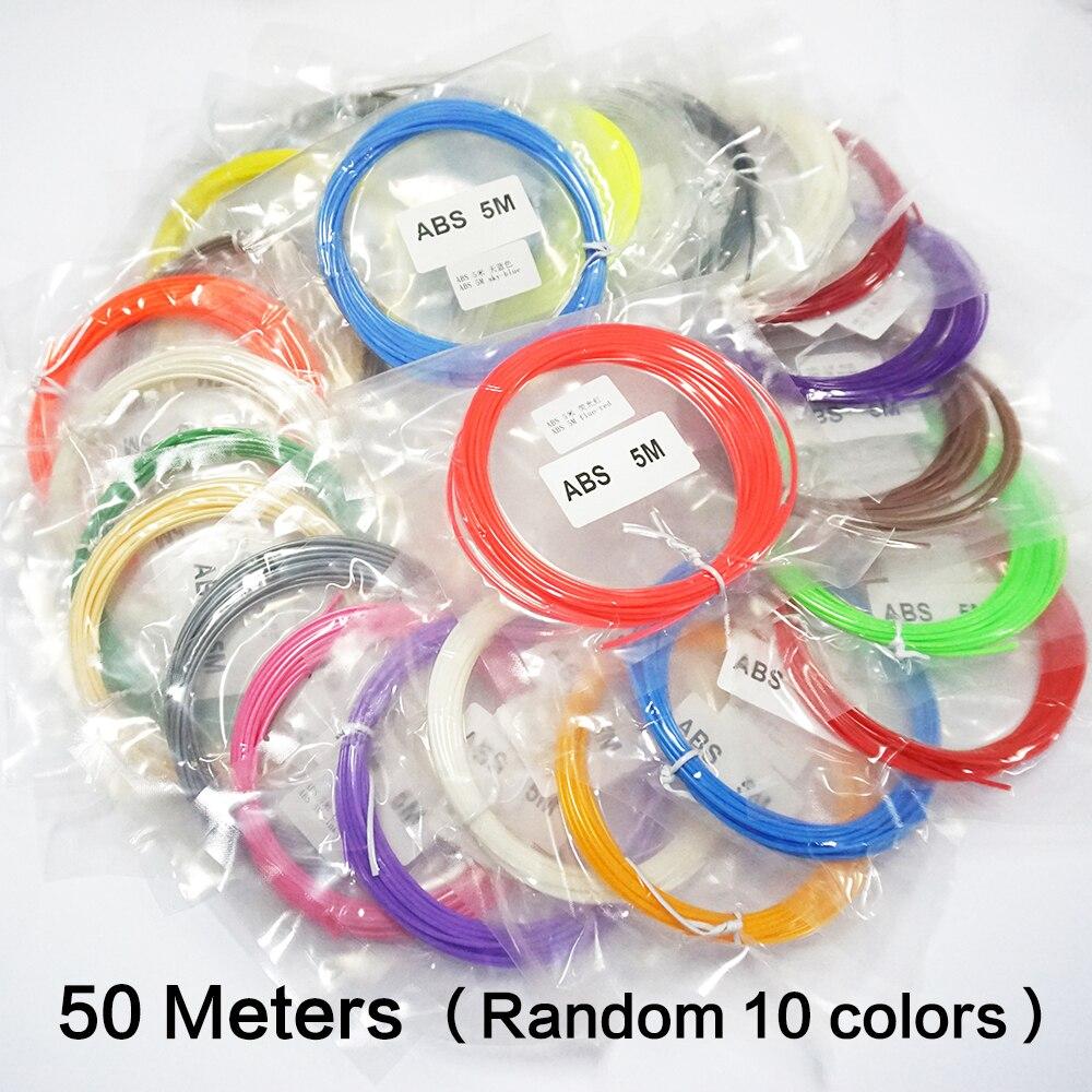50 Meters 10 Colors 3D Printer Pen Filament ABS Material 3D Print Filament <br><br>Aliexpress
