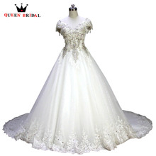 Buy QUEEN BRIDAL Ball Gown Cap Sleeve Crystal Beading Lace Big Train Luxurious Wedding Dresses robe de mariage Bridal Gowns XJ06 for $552.54 in AliExpress store
