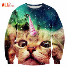 Alisister 2017 New Fashion Men/women's Unicorn Cat Hoodie Winter/autumn 3d Galaxy Sweatshirts Clothes Harajuku Animal Sweatshirt(China)
