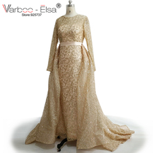 VARBOO_ELSA 2017 Long Sleeve Muslim Party Dress Arab Custom Luxury Rose Gold Sequined Evening Dress Detachable Train Prom Dress(China)