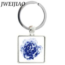 JWEIJIAO Blue Rose Flower Charms Keychains Flower Art Picture Key Chain Keyrings Square Glass Cabochon Metal Trendy Jewelry J532(China)