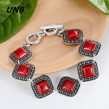 New Tibetan Silver red Color Green stone Bracelets & Bangles Inlay Roundness Nation Bohemian Bracelets For Women Fine Jewelry