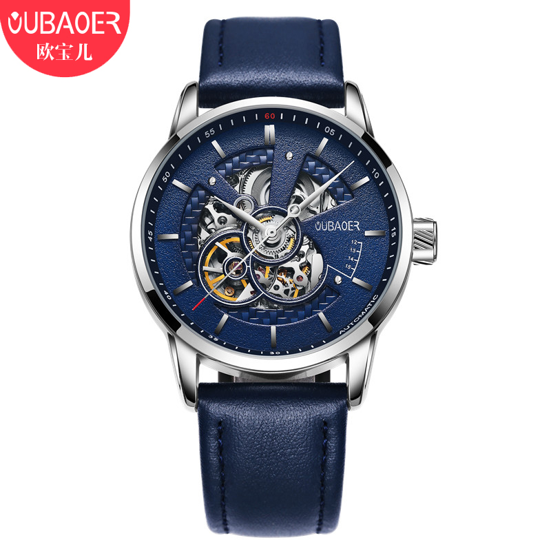 OUBAOER Mens Watches Top Brand Luxury Leather Automatic Watch Men Casual Mechanical Wristwatches Skeleton Clock Men Hodinky Men<br>