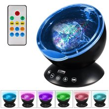 Remote Control Ocean Wave Projector Night Light Starry Sky Lamp 7 Colors Light Modes with Built-in Mini Music Player for Bedroom(China)