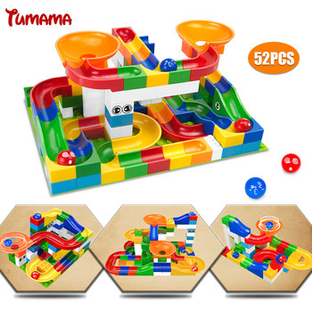 Tumama 52Pcs Construction Marble Race Run Maze Balls Track