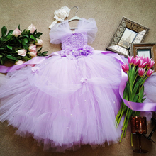 Gorgeous Lavender Flower Girl Dress Casual Baby Girl Tutu Dress with Flower Belt Girl Baby Birthday Dress Baby Party Clothes(China)