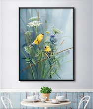 Two Canary European Flower and Bird Print Picture Wall Art Canvas Painting for Living Room Decoration No Framed(China)
