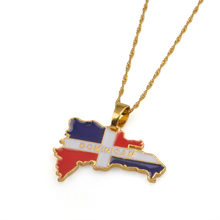 Gold Silver Color Map of Dominican Flag Pendant Necklaces Dominicans Country Map Jewelry #J0384(China)