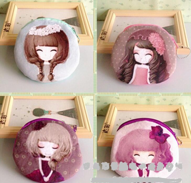M499 The New Digital Printing Beautiful Girl Plush Cartoon Creative Coin Bag Purse Cloth Girl Women Student Gift Wholesale<br><br>Aliexpress