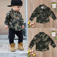 Pudcoco Newest Casual Spring&Autumn Blouses Kids Baby Boy Girls Camo Blouses Tops Shirt Long Sleeve Shirt Toddler Clothes 0-4T(China)