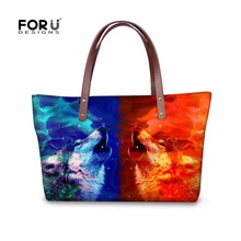 FORUDESIGNS Hot Handbag Baobao Women Bag Fashion Handbags Tiger Horse Wolf Printing Shoulder Bag for Girls Ladies Bao Bao Bag(China)