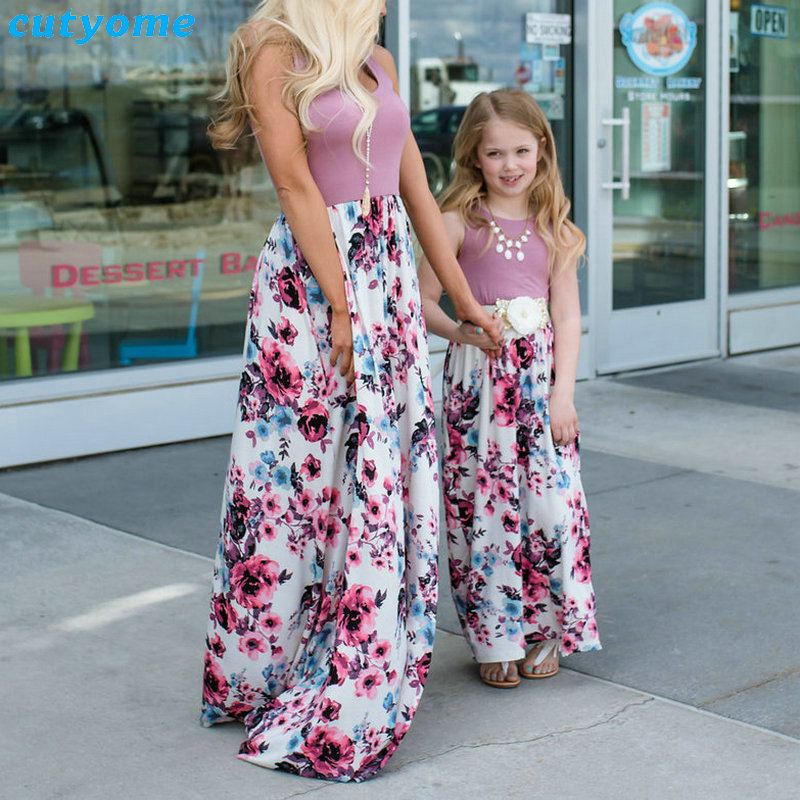 Summer Family Matching Outfits Mother and Daughter Dresses Patchwork Dress Kids Mom Daughter Floral Dress Matching Clothes 2018 (21)