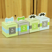 100Pcs Square Candy Box My little Man Cute Bow Mustache Celebration Birthday Boy Baby Shower Favor Boxes Gift For Guest Supplies