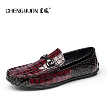 Men loafers pure Leather Casual flat driving shoes men luxury wine red black Loafers Round Leather casual Shoes men CY61099(China)