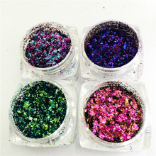 HIGH GRADE 1 box Chameleon Flakes Magic Effect Flake Multi Chrome Nail Powder Glitter Sequins Nail Art Gel Nail Polish Manicure(China)