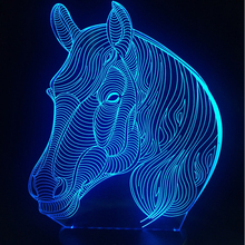 black friday Multicolor Changing Animal Nightlights 3D LED USB Lamp for Desk Table Bedroom Home Horse head Decoration Kid Gift(China)