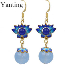Yanting Cloisonne lotus earrings for women blue chalcedony beads earings fashion jewelry ethnic earrings birthday gift 087(China)