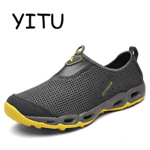 Buy YITU 2018 Summer Mens Breathable Walking Shoes Outdoor Beach Slip-On Light Walking Shoes Women Air Mesh Walking Sneakers Sports for $26.08 in AliExpress store