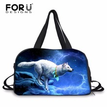 FORUDESIGNS Cool Wolf Designer Men Travel Large Duffle Bag Teenager Hand Luggage Shoulder Bag Male Rolling Luggage Carry On Bag