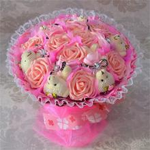 4Colors Handmade Wedding bridal bouquet Soft Plush Toy Bouquet Teddy Bear Cartoon Doll Fake Rose Valentine/Christmas Gift