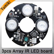 Yumiki 3pcs array IR led Spot Light Infrared 3x IR LED board for CCTV cameras night vision (53mm diameter)