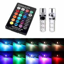 2pcs multi-color 5050 SMD RGB LED T10 194 168 W5W car interior fancy dome read bulb with remote control lights light source