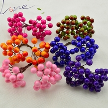 20pcs 40heads Mini Fake Fruit Small Berries Artificial Flower cherry Bouquet Stamen Wedding Home Christmas Decorative