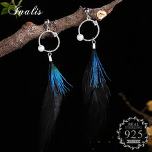 INALIS Feather 925 Sterling Silver Drop Earrings for Women Boucle d'oreille Femme Bijoux Brincos Accessories Fashion Jewelry(China)